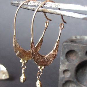 14k solid Yellow gold handmade unique earrings.